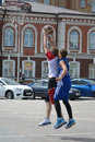 Tyumen street basketball day of youth of competitions in tsvetnoy boulevard Stock Images
