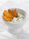 Tzatziki traditional dip made with yogurt or sour cream selective focus Royalty Free Stock Image