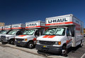 U haul trucks lined in a row pasadena ca usa august up is moving equipment and storage rental company based phoenix Royalty Free Stock Images