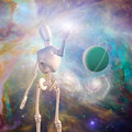 U robot and deep space with ringed planet Royalty Free Stock Photos