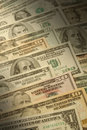 U.S. banknotes of various dollar denominations Royalty Free Stock Photo