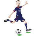 U s soccer player illustration of who hits the ball Stock Photos