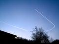 U turn aeroplane making a Stock Photography