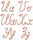 U v w x y z vector letters made of metal copper wire modern us english calligraphy style alphabet isolated on white Stock Image