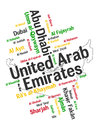 Uae map and cities words cloud with larger Royalty Free Stock Image