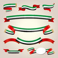 Uae ribbons set banners for design and decorate Royalty Free Stock Photography