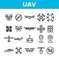 UAV, Remote Control Drones Vector Linear Icons Set
