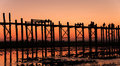 Uben bridge the longest wooden in myanmar Stock Photo