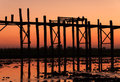 Uben bridge silhouette of wooden myanmar Royalty Free Stock Photography