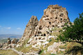 Uchisar castle amazing view of in cappadocia turkey Royalty Free Stock Photography