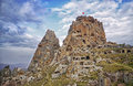 Uchisar castle  in Cappadocia, Central Anatolia Royalty Free Stock Photo