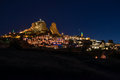 Uchisar fortress in cappadocia night view of a historical region central anatolia turkey Royalty Free Stock Photography