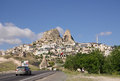 Uchisar village and Uchisar Castle in Cappadocia, Turkey Royalty Free Stock Photo