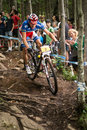 Uci world cup cross country mont ste anne b quebec canada august men elite st plcace fra absalon julien on aug Royalty Free Stock Photos