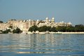 Udaipur city palace - view from Jag Mandir island,Rajasthan,Indi Royalty Free Stock Image