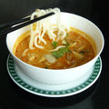 Udon tom yum goong japan noodles with thai prawn soup with lemongrass Royalty Free Stock Photo