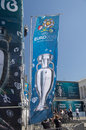 Uefa 2012 trophy comes to kiev,ukraine Royalty Free Stock Image