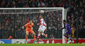 Uefa champions league arsenal v anderlecht london england nov s kieran gibbs makes a defensive header during the match between Stock Photo
