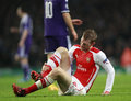 Uefa champions league arsenal v anderlecht london england nov s per mertesacker during the match between from england and Stock Image