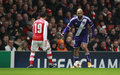 Uefa champions league arsenal v anderlecht london england nov s santi cazorla and nathan kabasele of during the match between Royalty Free Stock Photos