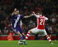 Uefa champions league arsenal v anderlecht london england nov sacha kljestan of and s calum chambers during the match between Royalty Free Stock Photos