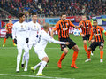 Uefa champions league game shakhtar vs real madrid lviv ukraine november in white and donetsk players fight for a ball during Royalty Free Stock Photos