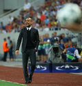 Uefa champions league qualification – steaua bucharest vs manchester city city's head coach pep guardiola in action during the Royalty Free Stock Images