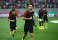 Uefa champions league qualification – steaua bucharest vs manchester city city's pablo zabaleta c in action at warm up before Stock Image