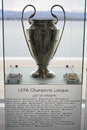 Uefa champions league trophy pictured in nyon switzerland at the center Stock Photo