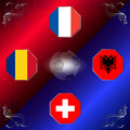UEFA EURO 2016 football with flags of group A Royalty Free Stock Photo