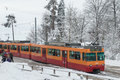 Uetliberg train of hill zurich ready for transporting people up of the hill switzerland during winter season Royalty Free Stock Photography