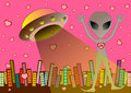UFO alien in love background illustration Royalty Free Stock Photo