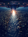 Ufo is on the city, 3d rendering Royalty Free Stock Photo