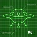Ufo flying disc indicator on retro display Royalty Free Stock Photo
