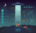 UFO infographic with disk beam abducting cow