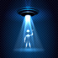 UFO invasion light beam with alien Royalty Free Stock Photo
