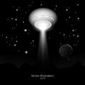 Ufo with light beam in space vector illustration Royalty Free Stock Photos