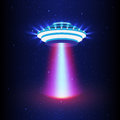 UFO light vector. Alien sky beams. Ufo spaceship with beam, saucer ufo flying illustration Royalty Free Stock Photo
