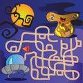 Ufo monster maze vector illustration funny for kids Stock Image