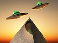 Ufo science fiction illustration flying over a pyramid Royalty Free Stock Photography