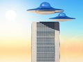 Ufo science fiction illustration over a city tower Royalty Free Stock Image