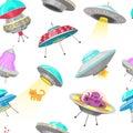 UFO Seamless Pattern. Alien Spaceships, Unidentified Flying Object, Fantastic Rockets, Cosmic Spacecrafts In Universe