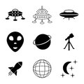 Ufo and space icons set