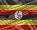 Uganda flag with a glossy silk texture.