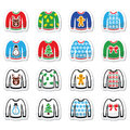 Ugly christmas sweater on jumper icons set vector icon of with xmas decoration isolated white Royalty Free Stock Photo