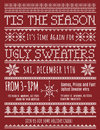 Ugly christmas sweater party invitation template with knitted design effect Royalty Free Stock Photography