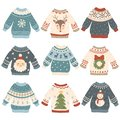 Ugly christmas sweaters. Cartoon cute wool jumper. Knitted winter holidays sweater with funny snowman, Santa and Xmas