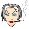 Ugly Evil Old Woman Smoking Royalty Free Stock Photo