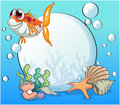 An ugly fish under the sea near the pearls illustration of Royalty Free Stock Photo