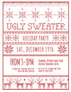Ugly holiday sweater party invitation red and white template Royalty Free Stock Photography